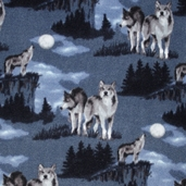 WinterFleece Fabric Baying at the Moon - Blue