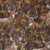 WinterFleece Fabric - Deer in the Forest