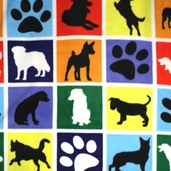 WinterFleece Fabric Dogs And Paws Blocks 35670