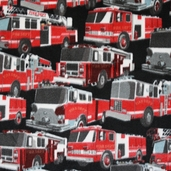 WinterFleece Fabric Firetrucks - Black