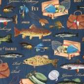WinterFleece Fabric - Gone Fishing - Blue
