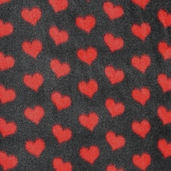 WinterFleece Fabric Hearts - Black 31535-2
