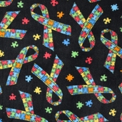 WinterFleece Fabric - Jigsaw Ribbons - Black