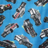 WinterFleece Fabric Police Cars - Blue