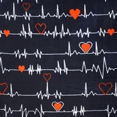 WinterFleece Heartbeat Polyester Fabric - Navy