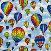 WinterFleece Hot Air Balloons Polyester Fabric - Blue