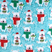 WinterFleece Snow Buddies Polyester Fabric - Blue