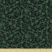 Winters Eve Cotton Fabric - Holly - Green
