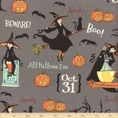 Witch Hazel Flying Witches Cotton Fabric - Gray