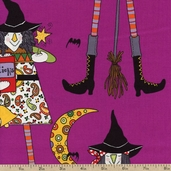 Witches In Stitches Cotton Fabric - Purple
