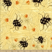 Witchful Thinking Spider And Web Cotton Fabric - Butter
