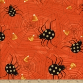 Witchful Thinking Spider And Web Cotton Fabric - Dark Orange