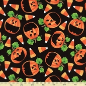 Witchy Poo Pumpkin Cotton Fabric - Black