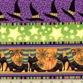 Witchy Poo Witch Cotton Fabric - Stripe
