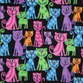 Wonderama Cool Cat Fleece Fabric - Black