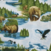 Wonderama Woodland Scenic Fleece Fabric - Blue