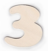Wood Numbers 3 - 3 inch