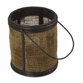 Wooden Burlap Lantern with Glass Candle Holder and Wire Hanger