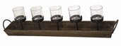 Wooden Candle Holder with 5 Votive Holders
