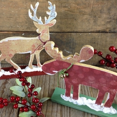 Wooden Deer And Moose