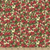 Woodland Christmas Holly Berry Cotton Fabric