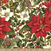 Woodland Christmas Poinsettia Cotton Fabric