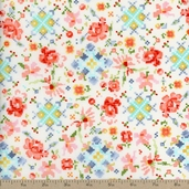 Woodland Clearing Pixel Floral Combed Cotton Lawn Fabric - Ivory