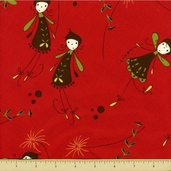 Woodland Cotton Fabric - Flying Fairies - Red