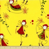 Woodland Cotton Fabric - Flying Fairies - Yellow - CLEARANCE