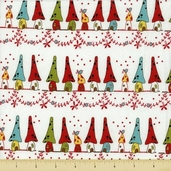 Woodland Cotton Fabric - Home Sweet Home - White - CLEARANCE