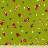 Woodland Cotton Fabric - Wee Little Elves - Olive