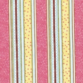 Woodland Friends Cotton Fabric - Pink Stripe