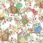 Woodland Friends Cotton Fabric - White