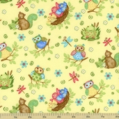 Woodland Friends Cotton Fabric - Yellow 5708-44