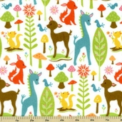 Woodland Tails Flannel Fabric - Forest Friends - Cream