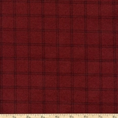 Woolies Flannel Fabric Double Windowpane - Burgundy