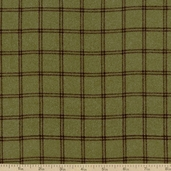 Woolies Flannel Fabric Double Windowpane - Green