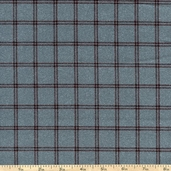 Woolies Flannel Fabric Double Windowpane - Navy