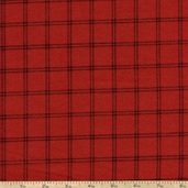 Woolies Flannel Fabric Double Windowpane - Red