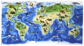 World Atlas Cotton Fabric  - Wild World Panel - Blue
