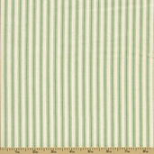 Woven Striped Ticking from James Thompson and Co. Inc. - Apple Green/Cream