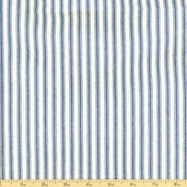 Woven Striped Ticking from James Thompson and Co. Inc. - Denim Blue