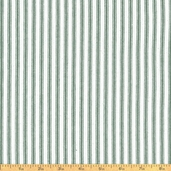 Woven Striped Ticking from James Thompson and Co. Inc. - Hunter/Cream
