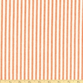 Woven Striped Ticking from James Thompson and Co. Inc. - Orange/Cream