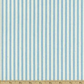 Woven Striped Ticking from James Thompson and Co. Inc. - Sky Blue/ Cream