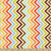 Wrens and Friends Chevron Stripe Cotton Fabric - Cream