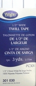 Wrights Twill Tape 1/2 inch Wide - White