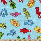 Yo Gabba Gabba Character Toss Cotton Fabric - Blue J4075-7