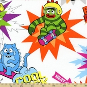 Yo Gabba Gabba! Cotton Fabric - White K4101-3
