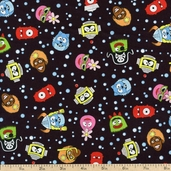 Yo Gabba Gabba! Head Toss Cotton Fabric - Black K4103-4
